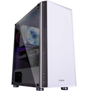 Zalman R2 ATX Mid Tower PC Case with Modern Mesh Front Panel Design Tempered Glass White