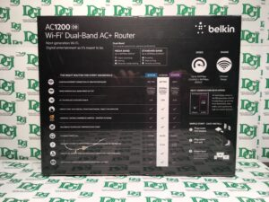 The Belkin AC 1200 DB Wi-Fi Dual-Band AC+ Gigabit Router offers a new level of reliability, speed and coverage for all your Wi-Fi devices. Now the whole family can watch shows and play games online with tablets, smartphones, or Smart TV – all at the same time. AC is next-generation Wi-Fi, providing greatly improved coverage and speeds up to 2.8x faster than traditional N routers*. The Belkin AC 1200 also enhances mobile device performance, and works seamlessly with Wi-Fi 'N' and 'G' devices. Get the most out of all your wireless devices and take home networking to the next level with the Belkin AC 1200 DB Wi-Fi Dual-Band AC+ Gigabit Router.